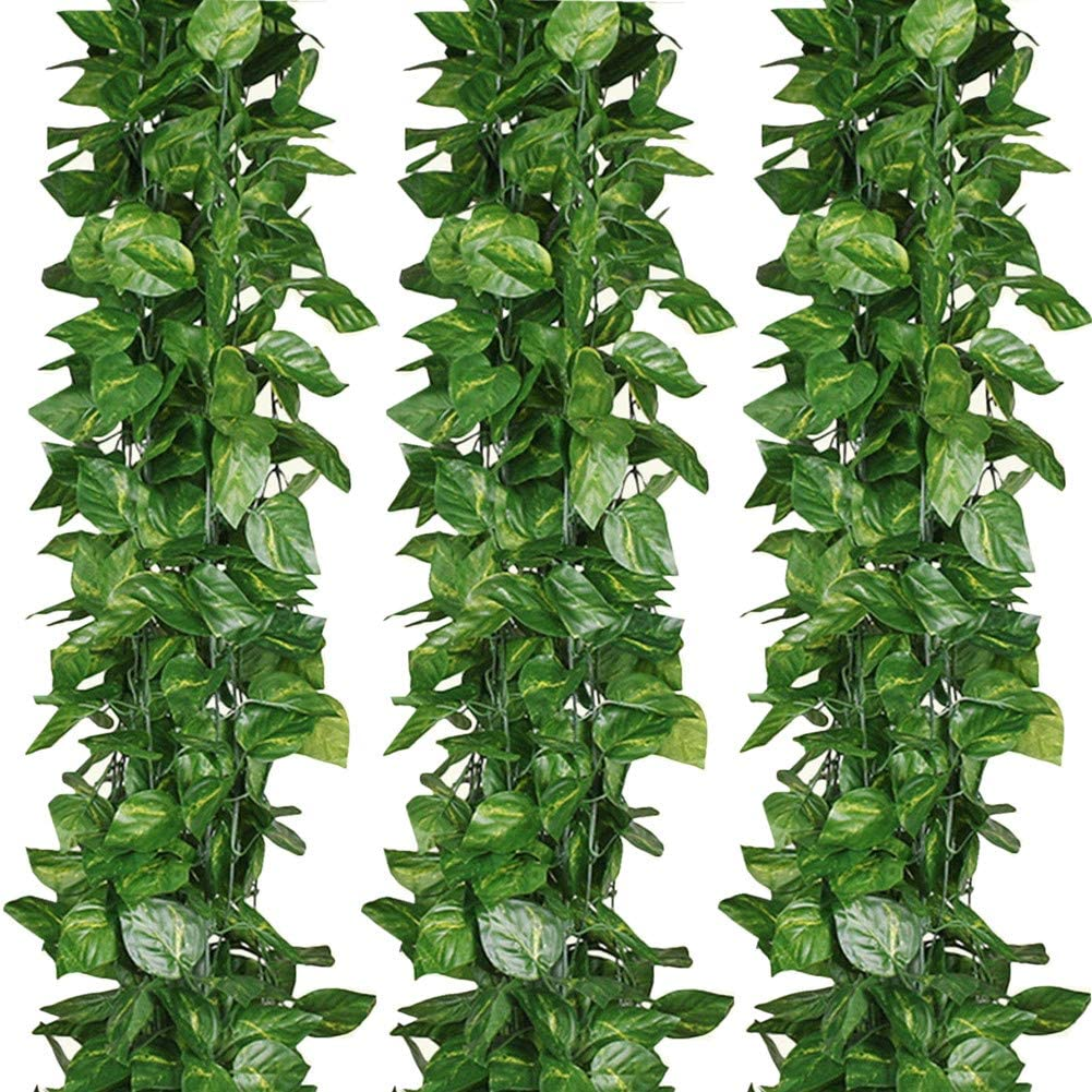 ELINSON 168 feet Artificial Vines Greenery Garland Fake Hanging Leaves Faux Foliage Plants for Wedding Party Garden Home Kitchen Office Wall Decorations (Scindapsus/24 Strands)