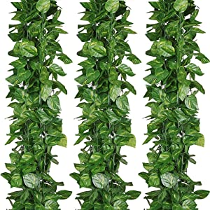 ELINSON 84 feet Artificial Vines Greenery Garland Fake Hanging Leaves Faux Foliage Plants for Wedding Party Garden Home Kitchen Office Wall Decorations (Scindapsus/12 Strands)