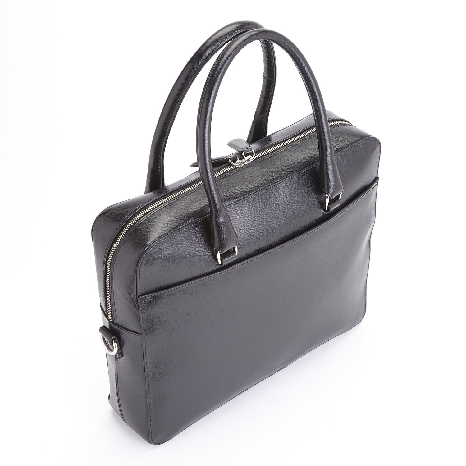 Royce Leather RFID Blocking Travel Briefcase in Italian Saffiano Leather