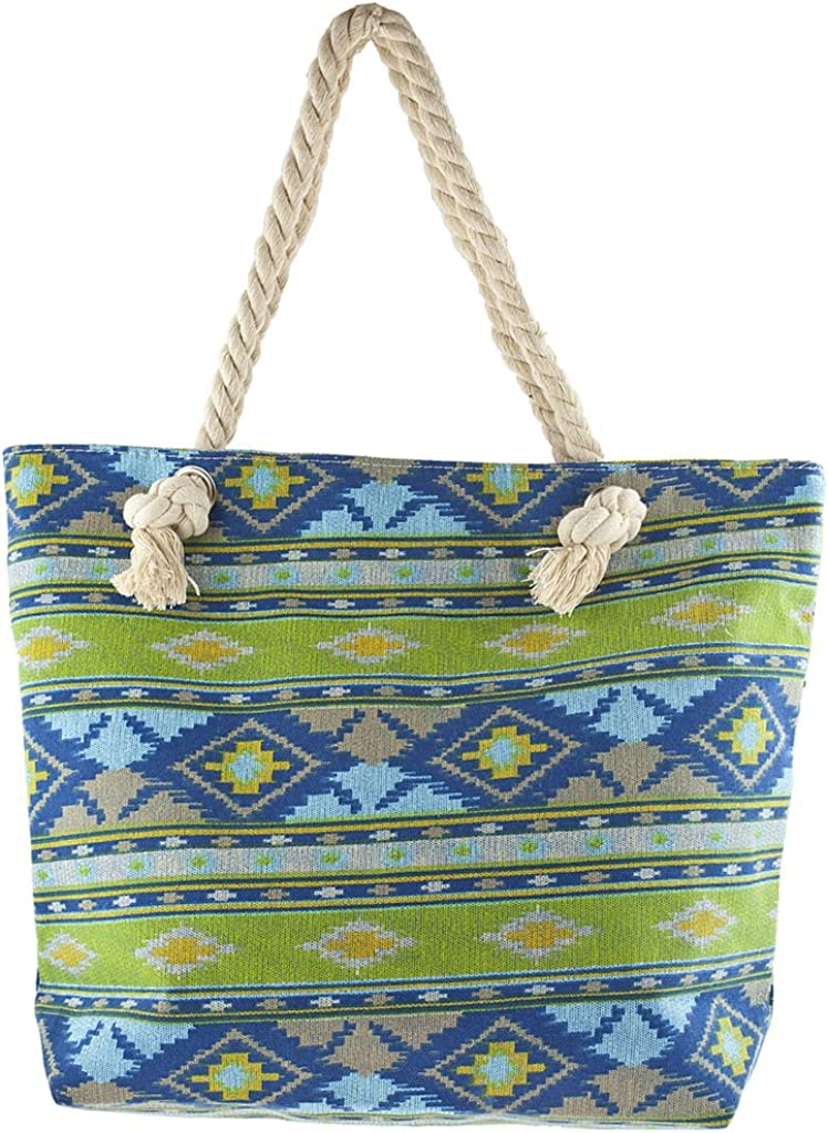 Lux Accessories Women's Colorful Ikat Print Tote Beach Bag