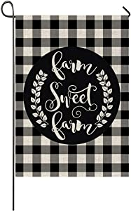 Faromily Black White Buffalo Plaids Farm Sweet Farm Garden Flag Vertical Double Sided Rustic Farmhouse Quotes Burlap Garden Yard Lawn Outdoor Decoration 12.5 x 18 Inch