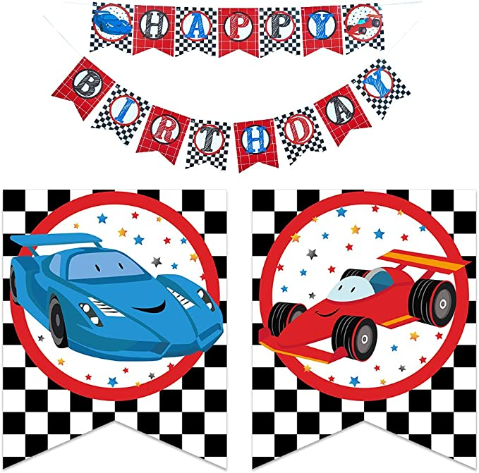 Pre-Strung Race car Bday Party Sign Cars Pennant Bunting for Boy Men Bemoor Racecar Happy Birthday Banner