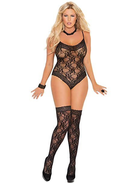 31201c412 Amazon.com  Elegant Moments Women s Lace Teddy and Matching Thigh Hi ...