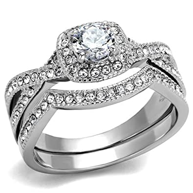 1.90 Ct Halo Round Cut AAA Cz Stainless Steel Womenu0027s Infinity Wedding Ring  Set (5