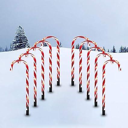 4 Solar Power LED Lamp Christmas Candy Pathway Markers Xmas Garden Decor