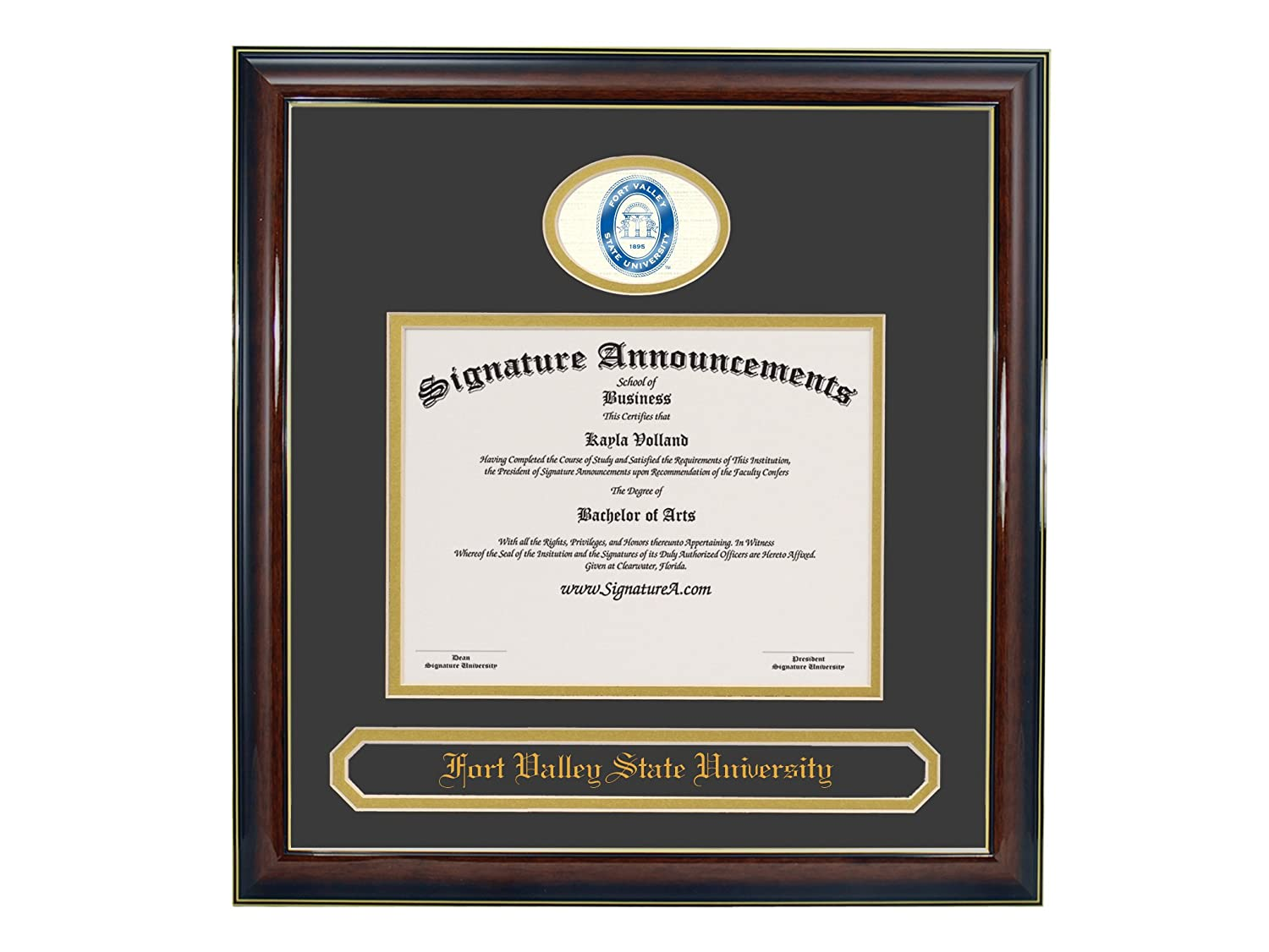 Sculpted Foil Seal /& Name Graduation Diploma Frame 16 x 16 Gloss Mahogany with Gold Accent Signature Announcements Fort Valley State University Undergraduate