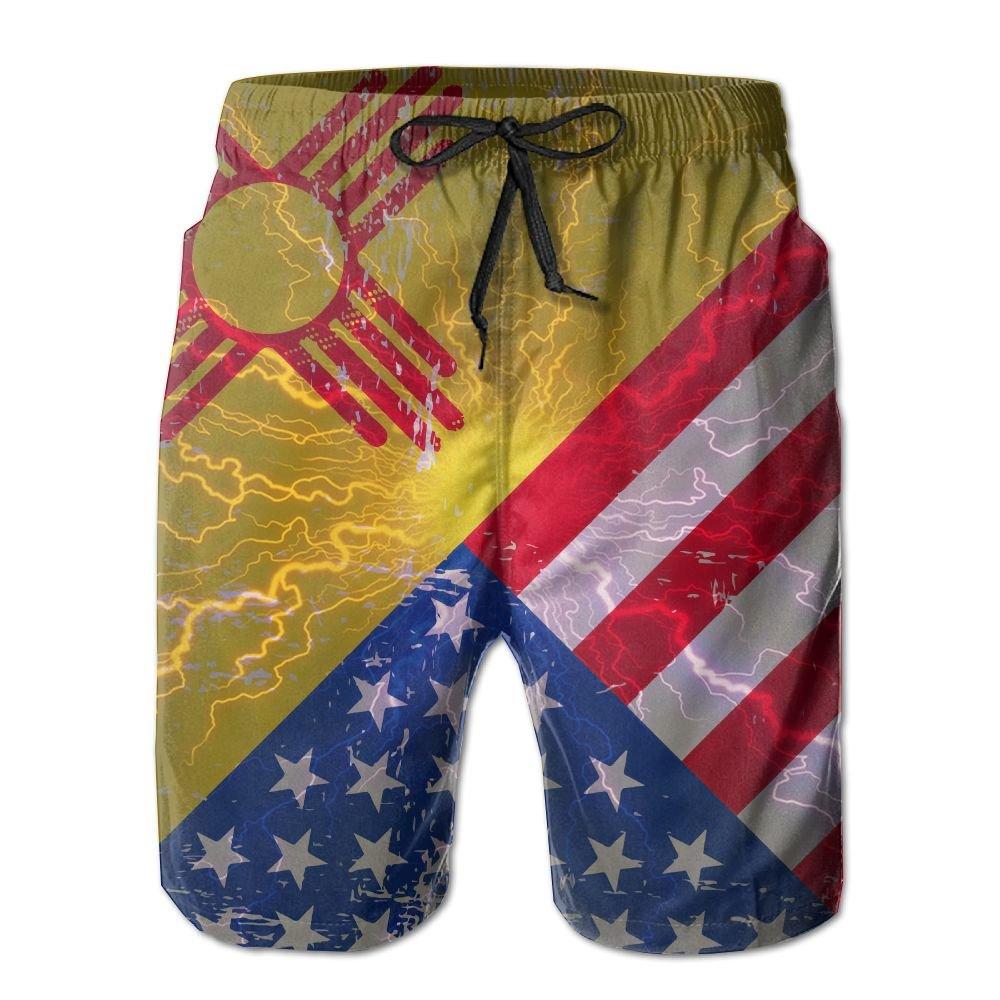 Bing4Bing New Mexico American Flag Summer Fast Dry Beach Men Beach Shorts