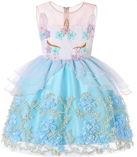 YRE Chica Vestido Vestido Falda, Unicornio niña sin Mangas ...