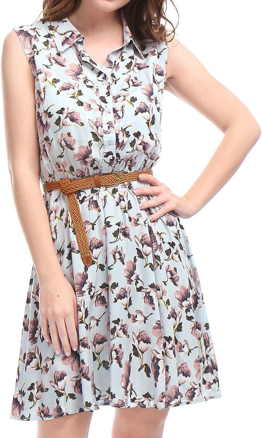 Allegra K Vestido Camisero Estampado Floral Sin Mangas con cintur/ón Medio Tapeta por Encima De La Rodilla para Mujeres