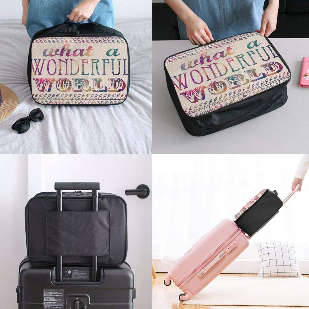 ADGAI English What A Wonderful World Canvas Travel Weekender Bag,Fashion Custom Lightweight Large Capacity Portable Luggage Bag,Suitcase Trolley Bag