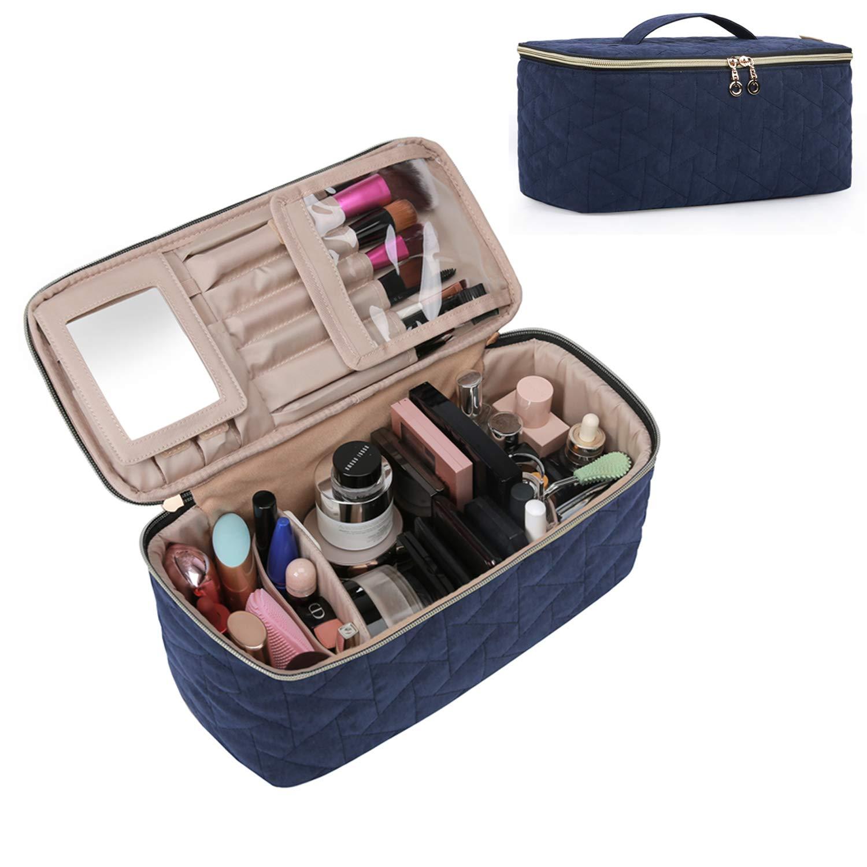 BAGSMART Makeup Bag Cosmetic Bag Large Toiletry Bag Travel Bag Case Organizer for Women, Smokey Blue