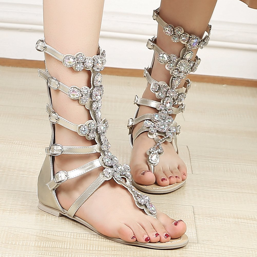DecoStain Women's Peep Toe Appliques Decoration Buckle Strap Thin High Heel Party Gladiator Sandals B07D495Z9N 8 B(M) US|3 Gold