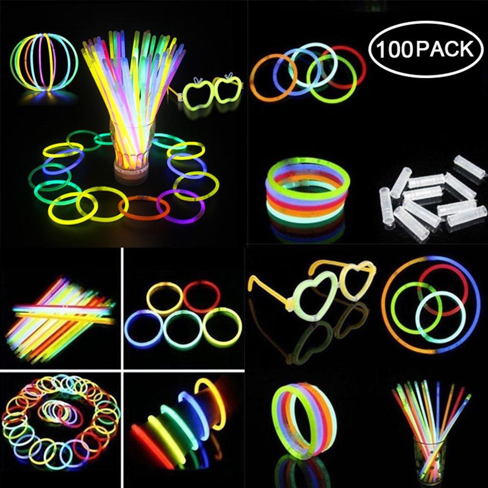 Teepao Glow Sticks Bulk 100 8'' Glowsticks,Bracelets Glow Necklaces Glow-In-The-Dark Light-up Party Favors