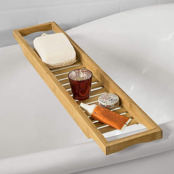 SoBuy Bandeja para Bañera de Bambú, Estante para Ducha, Estante de Baño,FRG18(L70*P14.5*A4.5cm), ES: Amazon.es: Hogar