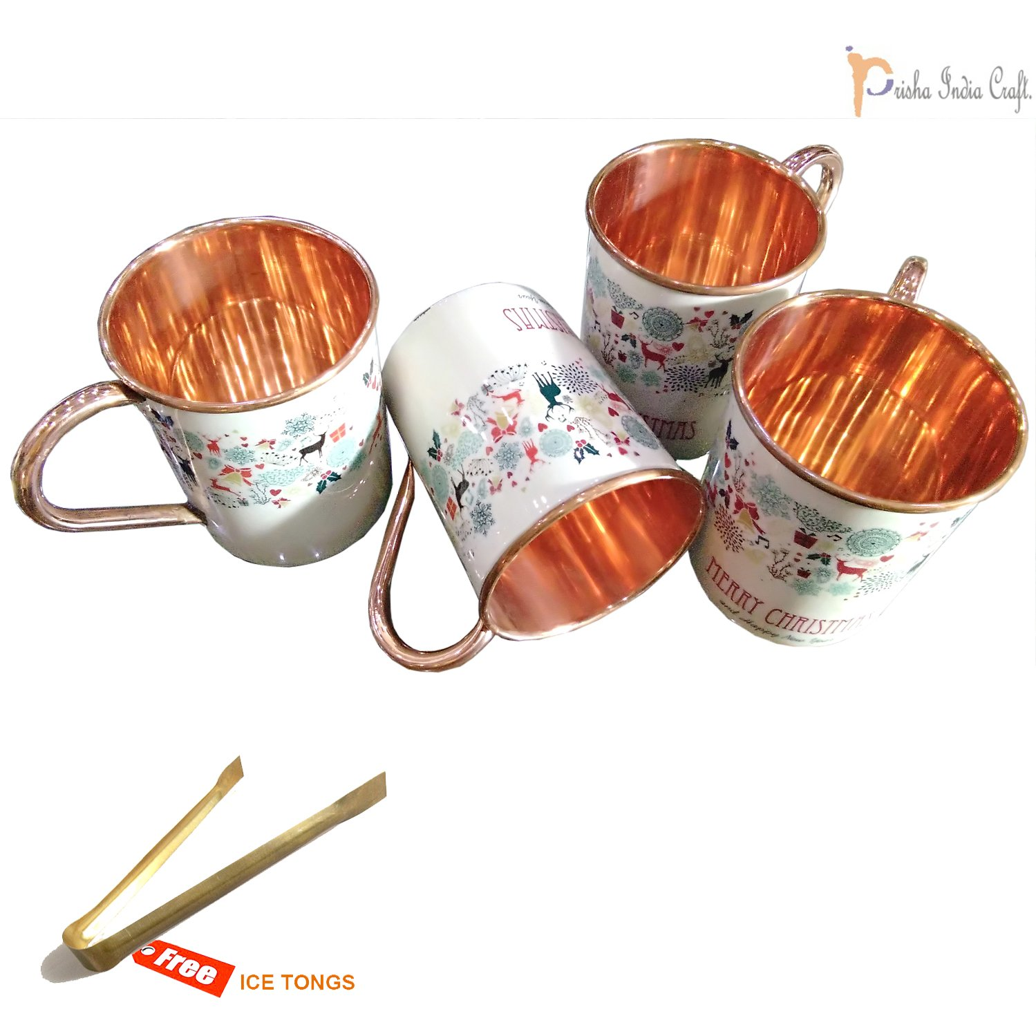 Prisha India Craft Marry Christmas Hand Painted Designer Copper Mugs Gift for Christmas, Pure Copper Moscow Mule Mugs | 17 Ounce | Set of 4