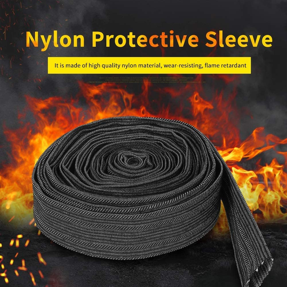 Hydraulic Hoses Black Nylon Protective Sleeve Sheath Cable Cover for Welding Torch Hydraulic Hose for Plasma Torch Hose Stick Welding Cables Maxmartt 25ft Nylon Protective Sleeve