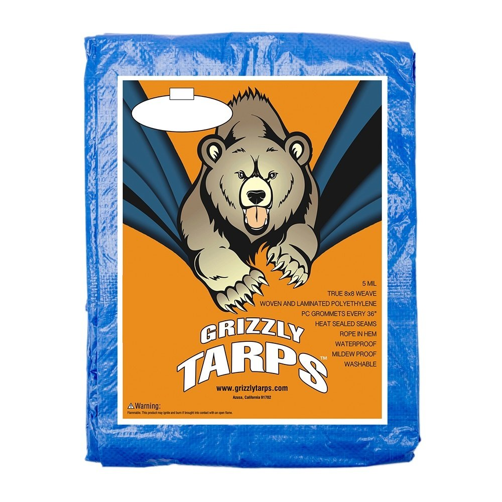 B-Air GTRP912 Grizzly Tarps 9 x 12 Feet Blue Multi Purpose Waterproof Poly Tarp Cover 5 Mil Thick 8 x 8 Weave by B-Air (Image #2)