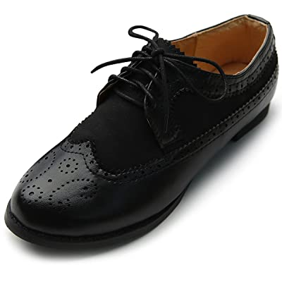 Ollio Women's Lace Up Shoe Wingtip Dress Low Heel Oxford | Oxfords