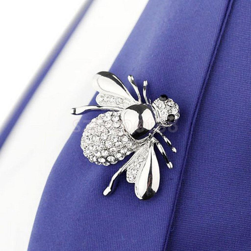 Cute Small Honey Bee Brooch Pin for Coat Hat Silver