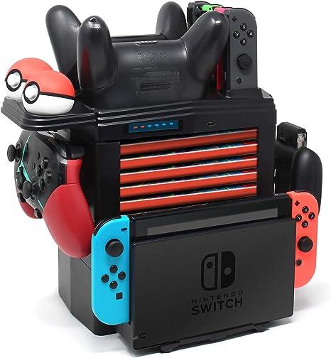 Soporte de carga para Nintendo Switch Pro Controller, Joy-Con, Pokémon Balls, y tarjetas de juego, estación de carga desmontable multifuncional y almacenamiento para consola Nintendo Switch con 1 cable USB tipo C: