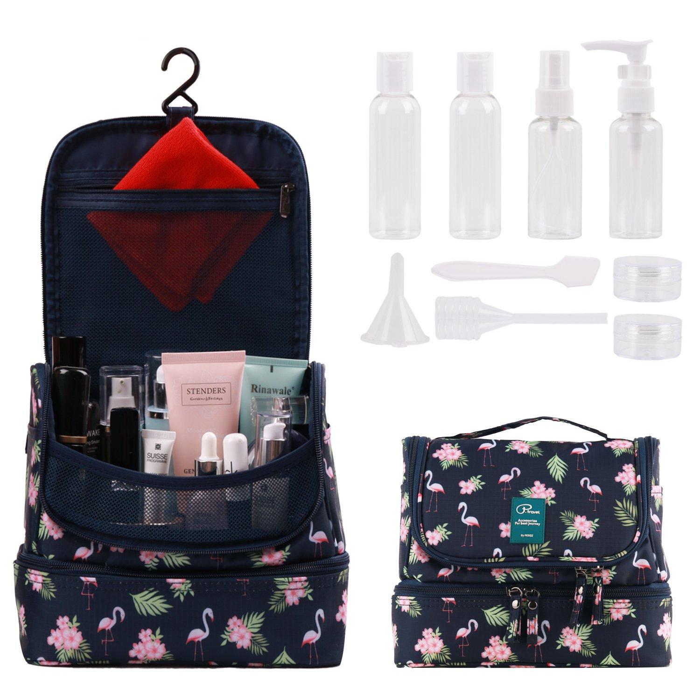 Tuscall Hanging Toiletry Bag + Travel Bottles Set, Premium Travel Kit for Men and Women, Waterproof Nylon Organizer Toiletry kit for Travel Accessories, Cosmetics, Makeup (Flamingo)