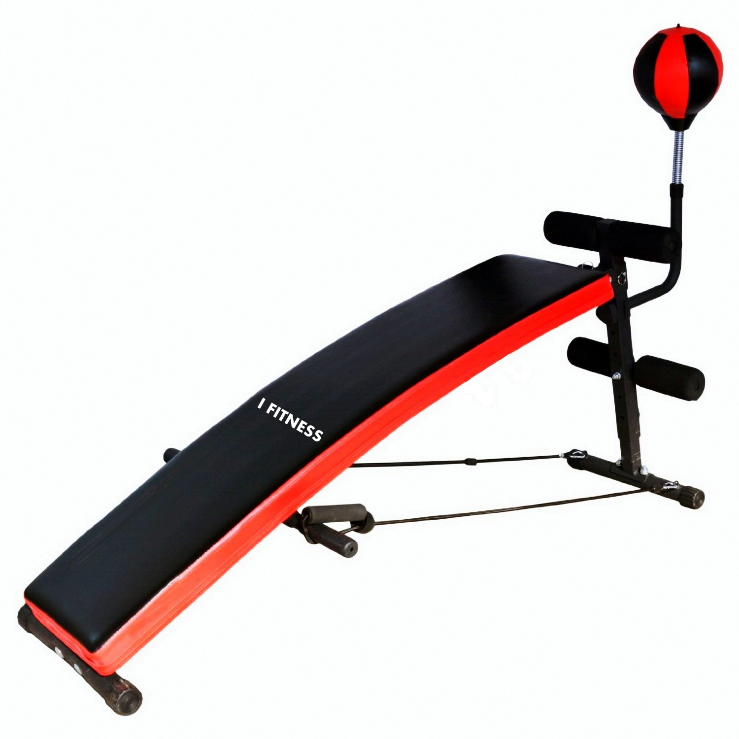 Iron Jack Curved Sit up Adjustable Heavy Duty Decline Bench for Abs & Core workout with Punching Bag and Resistance Latex Straps I Fitness