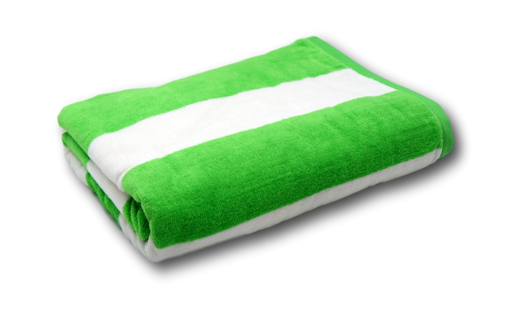 Lara Cabana 100% Turkish Cotton Beach Towel Pool Spa Bath by Corner4Shop (Green/White Striped)