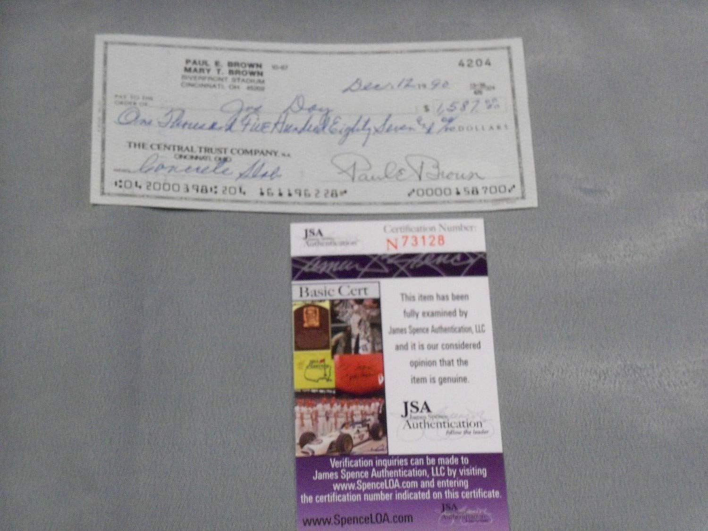 Paul E Brown Autographed Signed Cincinnati Bengals Check JSA Authentic Memorabilia Certified Clean