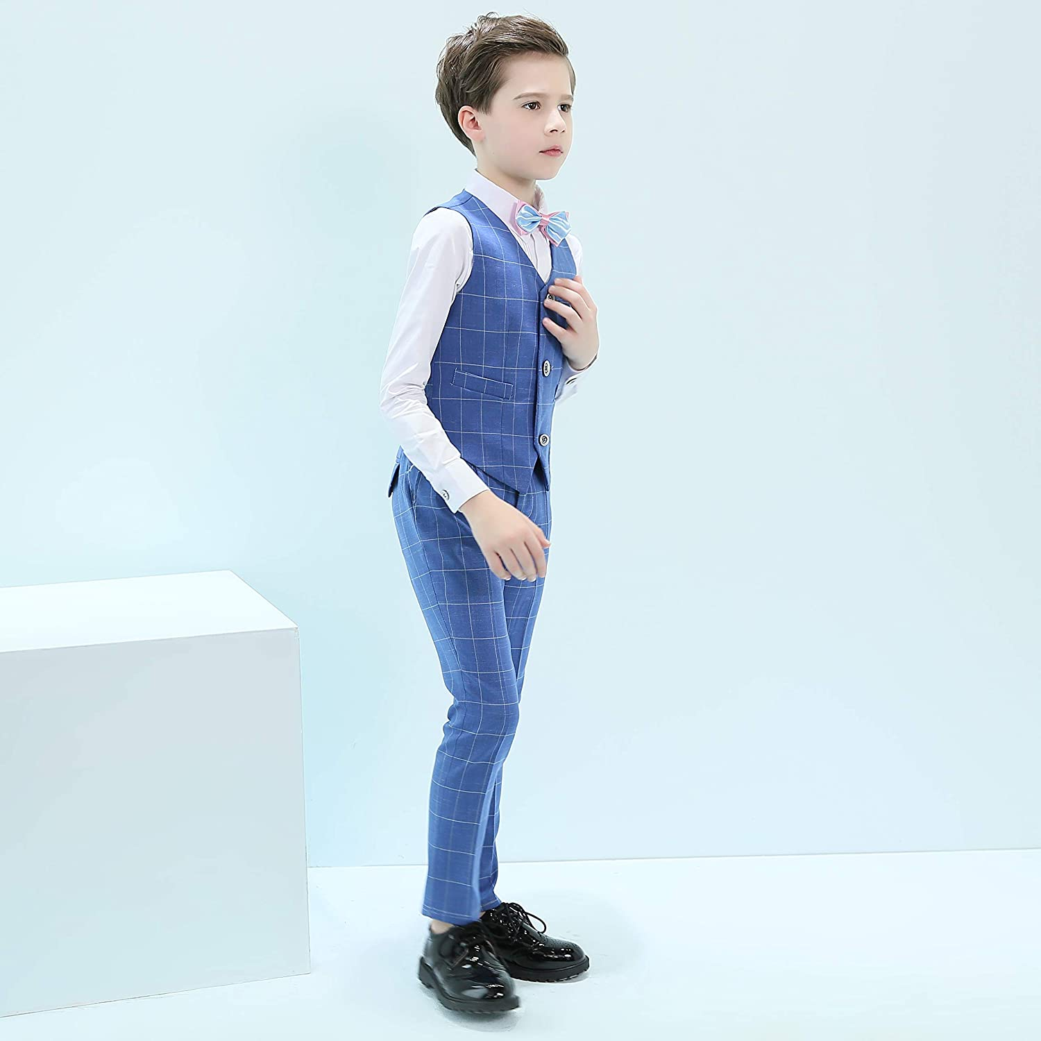 Hibabe Stripe Suits for Boys 4 Set Blue Plaid,Ring Bearer