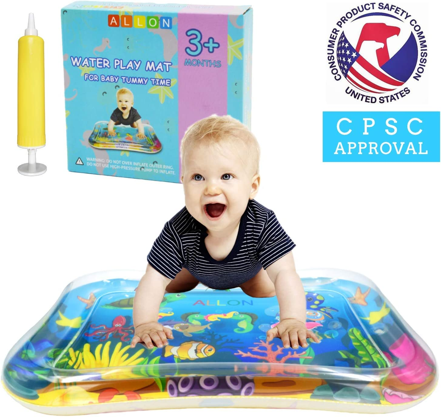 Best Activity Centers Baby Sensory Toys for 3 6 9 Months Leakproof Inflatable Play Mats for Infants /& Toddlers ALLON Tummy Time Baby Water Play Mat