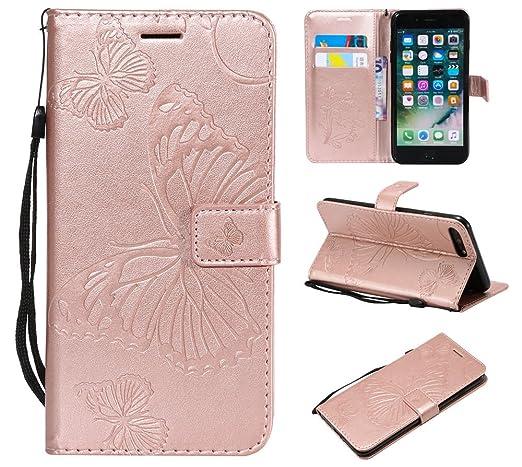 c13bea274450 iPhone 8 Plus Coque, iPhone 7 Plus Étui portefeuille, Jyzr PU Cuir  Portefeuille Papillon