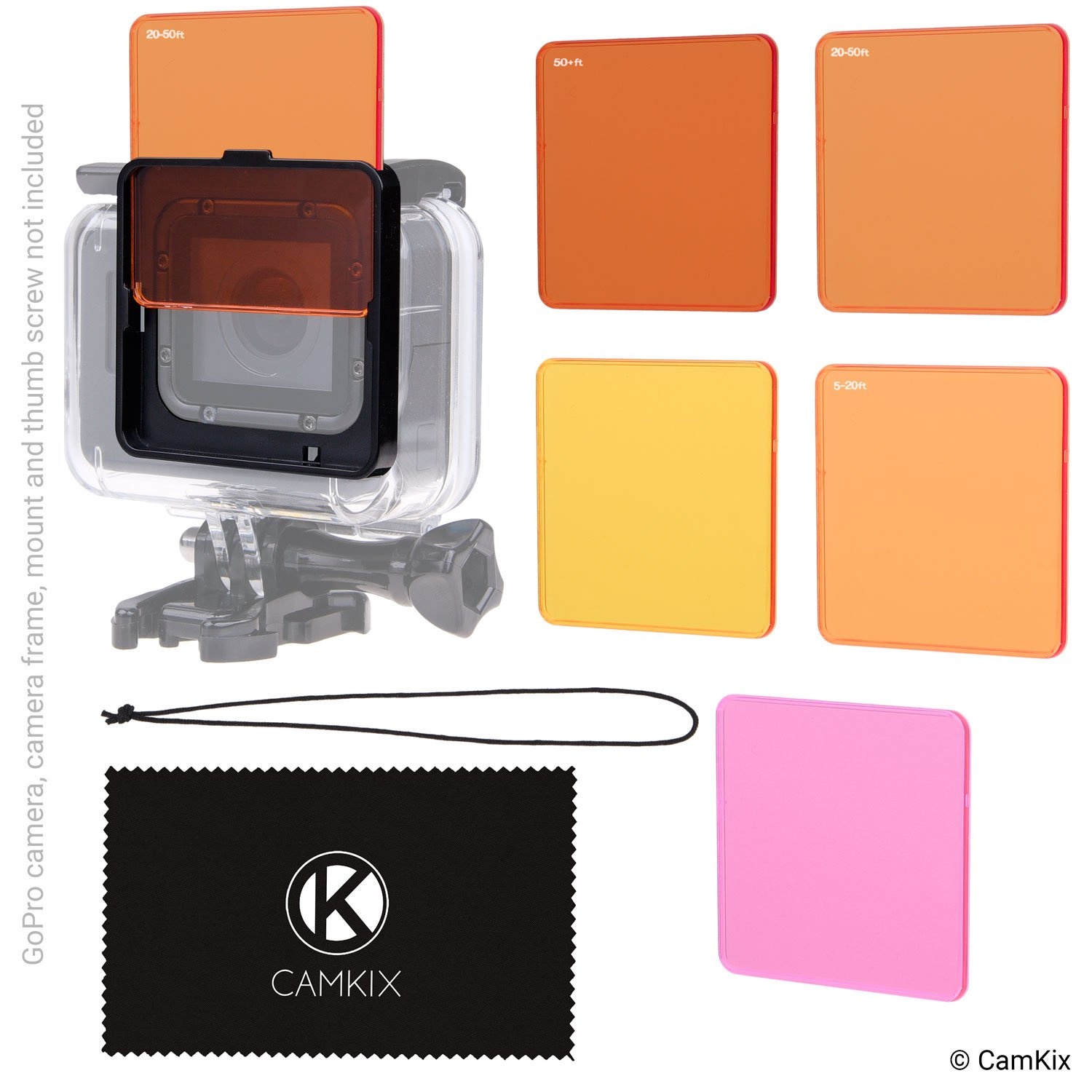 Diving Filter Kit for GoPro Hero 6 / 5 Black - 5 Filters (3x Red, 1x Magenta, 1x Yellow) - For use with waterproof housing (Super Suit) by CamKix