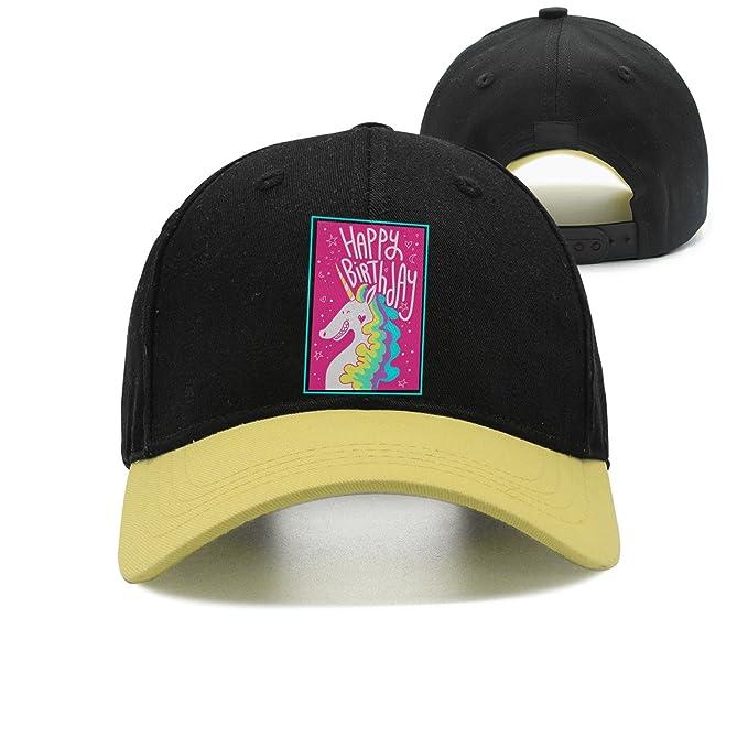 202efdc1199 Image Unavailable. Image not available for. Color  Unisex Trucker Hat Happy  Birthday Unicorn Rainbow Adjustable Snapback Baseball Cap