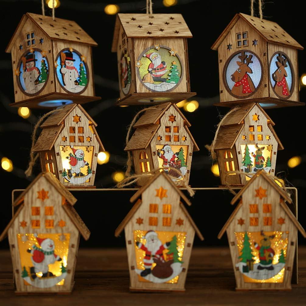 Amosfun Village Noel Lumineux Maison cerf lumi/ère d/écoration de Chalet en Bois