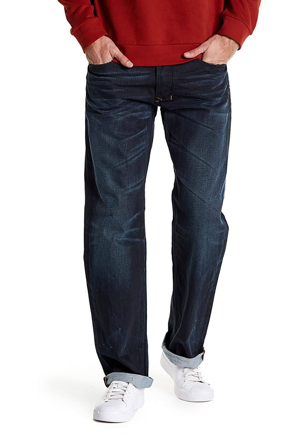 Diesel Larkee Mens Regular Straight Denim Jeans R823I Dark Wash 34 Inseam