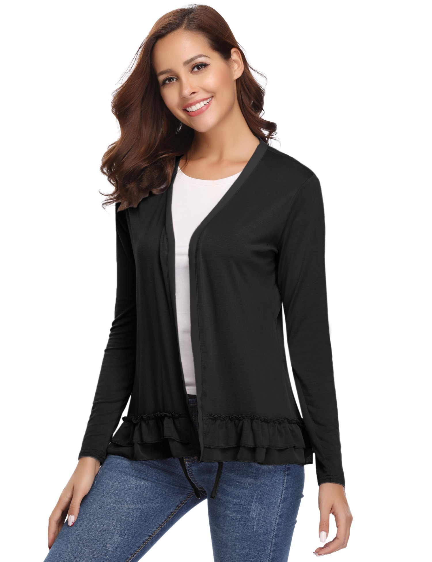 Abollria Women's Loose Casual Long Sleeved Open Front Breathable Cardigans(Black,L)