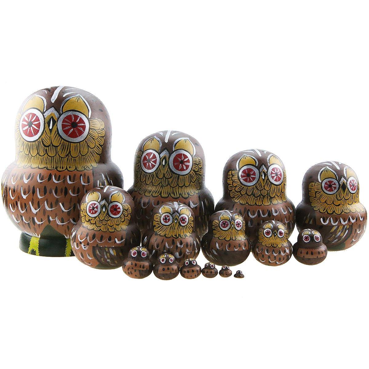 Winterworm Set of 15 Pieces Cartoon Brown Owl Russian Handmade Wooden Nesting Dolls Matryoshka Dolls for Birthday Christmas New Year Gift Home Decoration Kids Toy by Winterworm (Image #3)