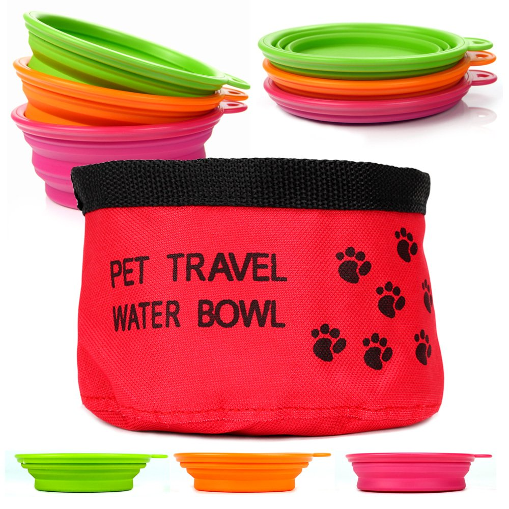 Collapsible Silicone Bowls and Collapsible Travel Water Bowl for Pets, Varying Colors