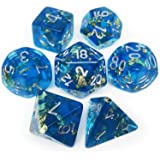 Haxtec DND Dice Set 7PCS Polyhedral Dice for Roleplaying Dice Games as Dungeons and Dragons-Blue Gold Leaf/Foil Polyhedral Dice Blue Gold Foil(Plankton)