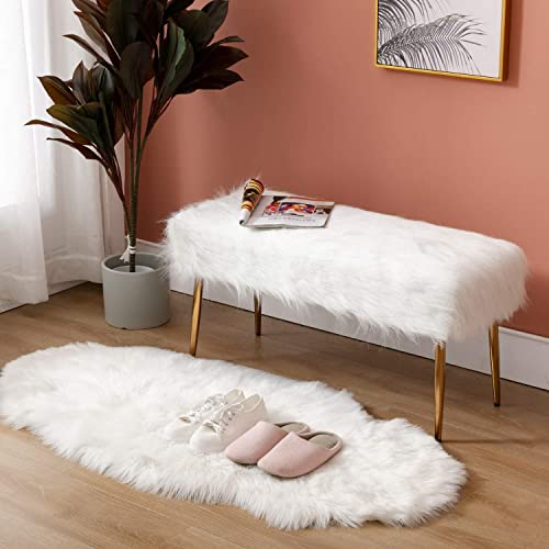 H Y Faux Fur White Ottoman Bench Modern Shaggy Long Hair Upholstered Bench