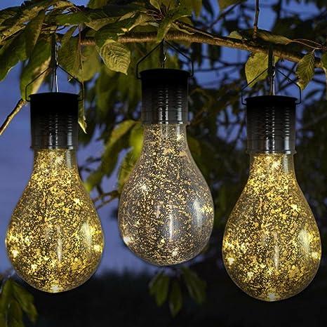 upxiang Solar con la bombilla hängendem Ganchos, giratoria solar jardín LED Luz bombilla, impermeable