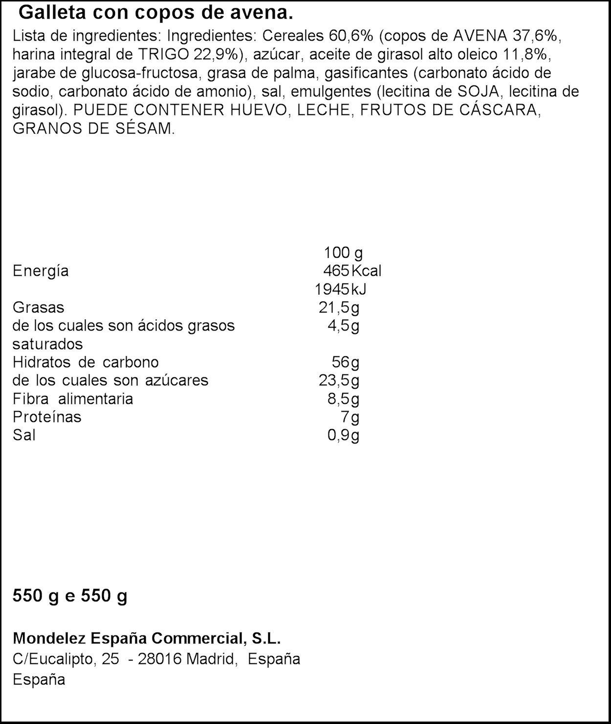 Fontaneda - Digestive- Galletas con avena - 550 g: Amazon.es: Alimentación y bebidas