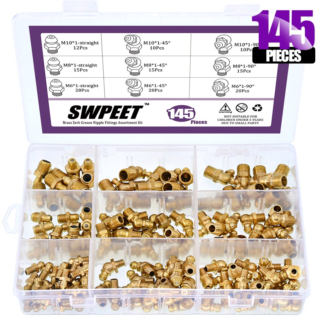 Swpeet 145Pcs Grease Fittings Assortment Kit, Brass Zerk Grease Nipple Fittings Perfect for Excavators