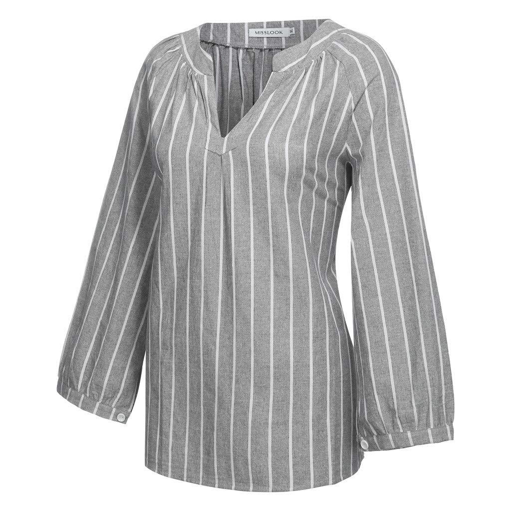 Pandaie Womens Shirts Striped Print V Neck Cotton Linen Long Sleeve T Shirt Blouse Top Light Breathable