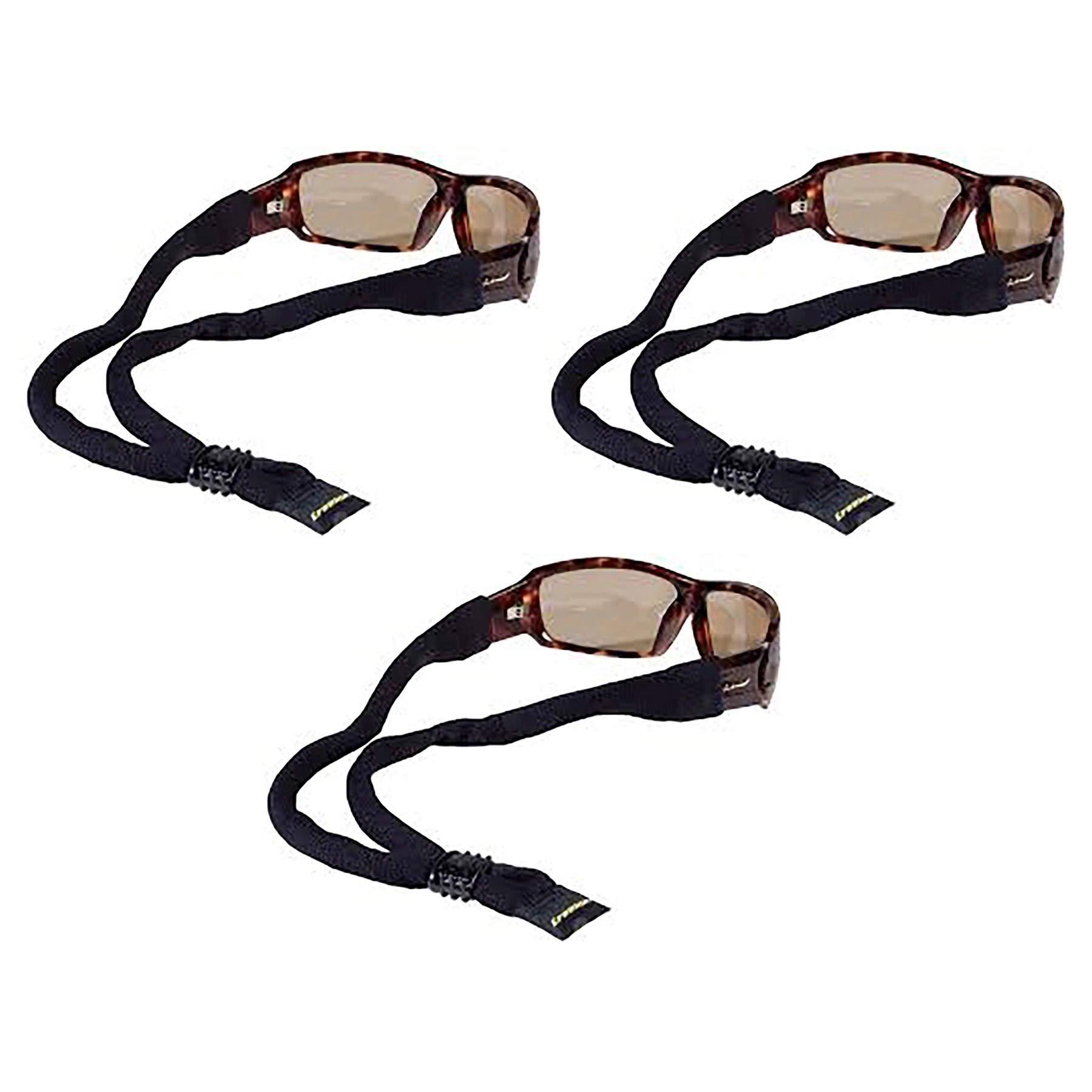 Croakies XL Cotton Suiter Eyewear Retainer Black Adjustable Strap (3-Pack) by Croakies
