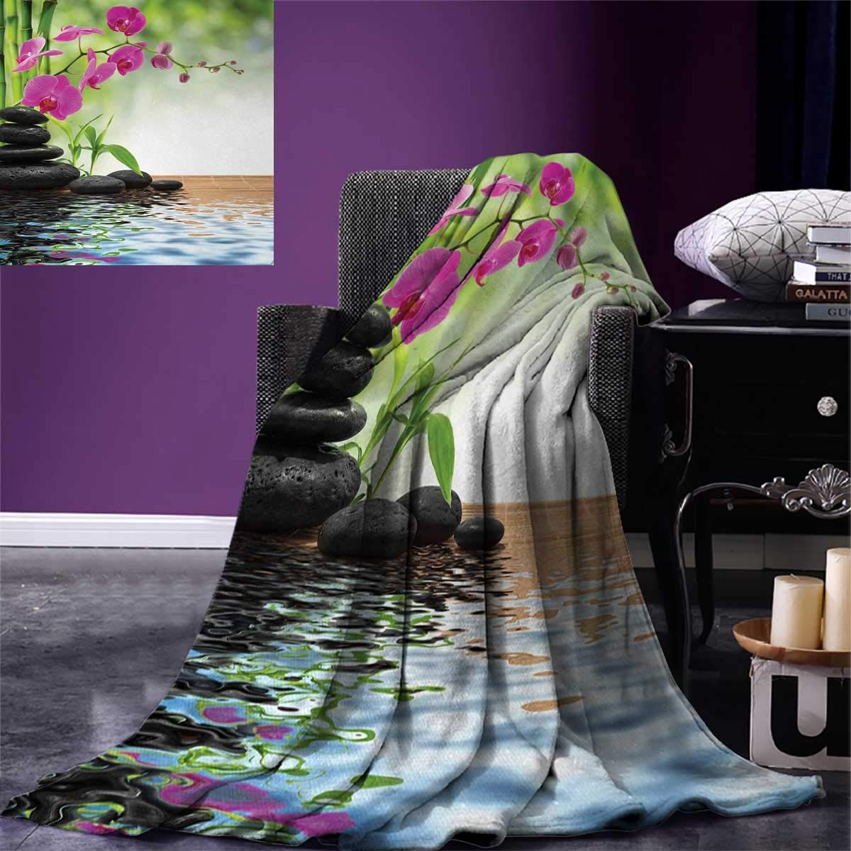 smallbeefly Spa Super Soft Lightweight Blanket Composition Bamboo Tree Floor Mat Orchid Stones Wellness Greenery Oversized Travel Throw Cover Blanket 90''x70'' Fuchsia Charcoal Grey Lime Green