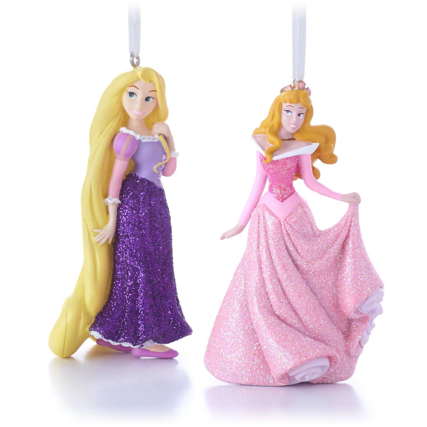 Hallmark Disney Rapunzel and Aurora Christmas Ornaments, Set of 2