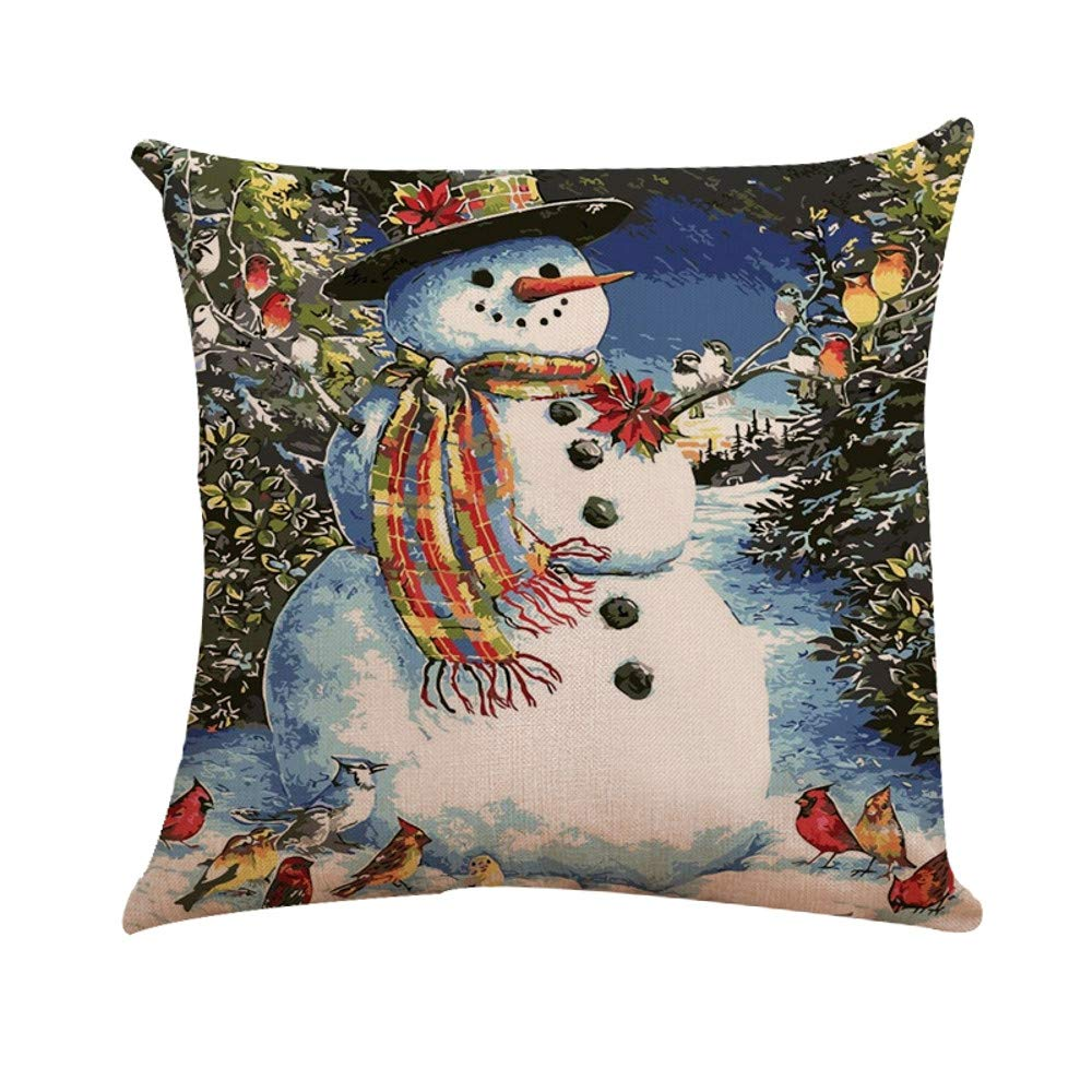 NUWFOR Xmas Cotton Pillow Case Linen Cushion Cover Merry Christmas Home Decoration(D)