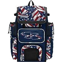 Boombah Superpack Bat Bag - Backpack Version (no Wheels) - Holds 4 Bats - USA Independence Navy/Red/White
