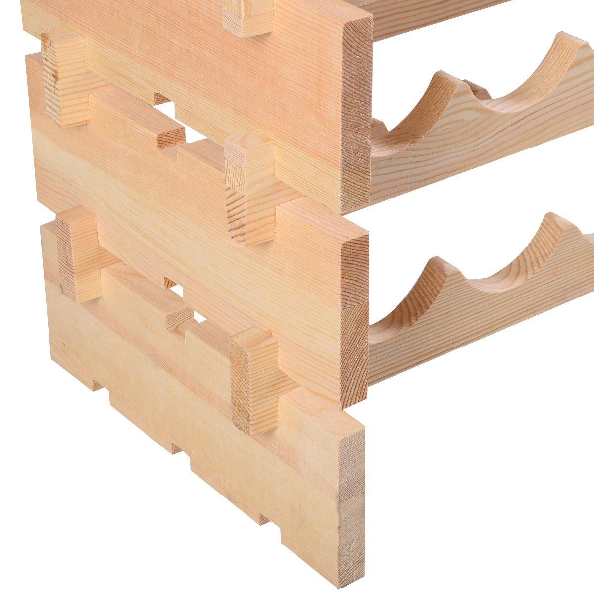 6 Tier Pinewood Wine Rack Natural Display Storage Shelves fit 72 Bottle by FDInspiration (Image #5)